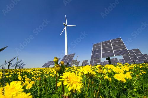 Fotografie, Obraz  Windrad und Solarzellen