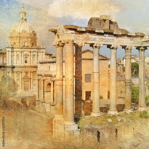 wielki-antyczny-rzym-forum-grafika-w-stylu-retro