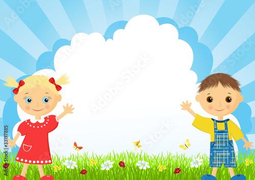 Spoed Foto op Canvas Vogels, bijen The girl and the boy on a meadow.