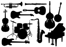 Vector Musical Instruments Silhouettes