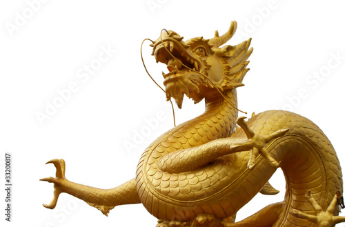 Photo  Golden dragon statue Phuket Thailand