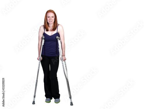 Woman on Crutches Fototapeta