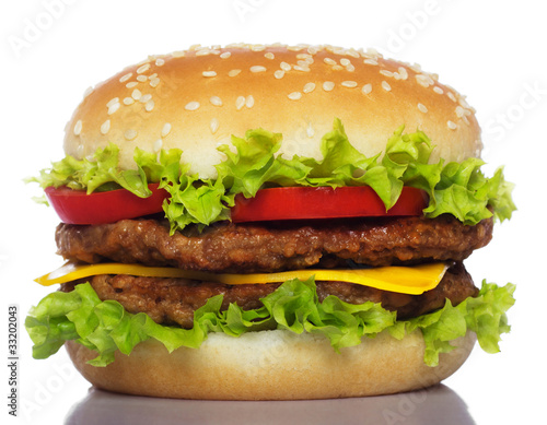 Tablou Canvas big hamburger isolated on white