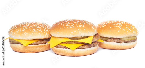cheeseburger and hamburger isolated on white
