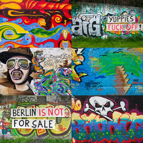 Stickers pour porte Graffiti collage Berlin Graffiti Collage