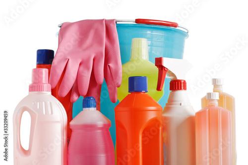 Fotografie, Obraz  bucket and detergents - prodotti detergenti