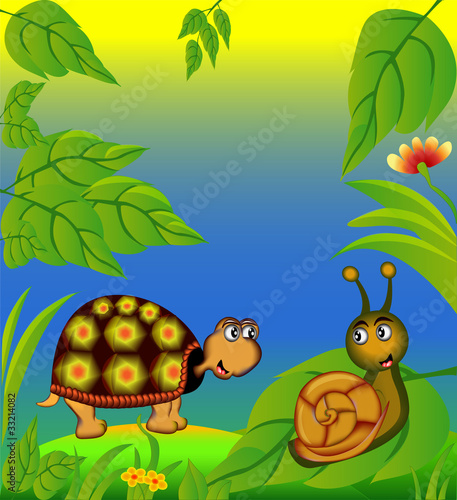 La pose en embrasure Forets enfants nice terrapin and snail in herb