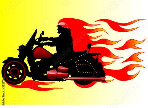 Poster Motocyclette Fire motorcycle