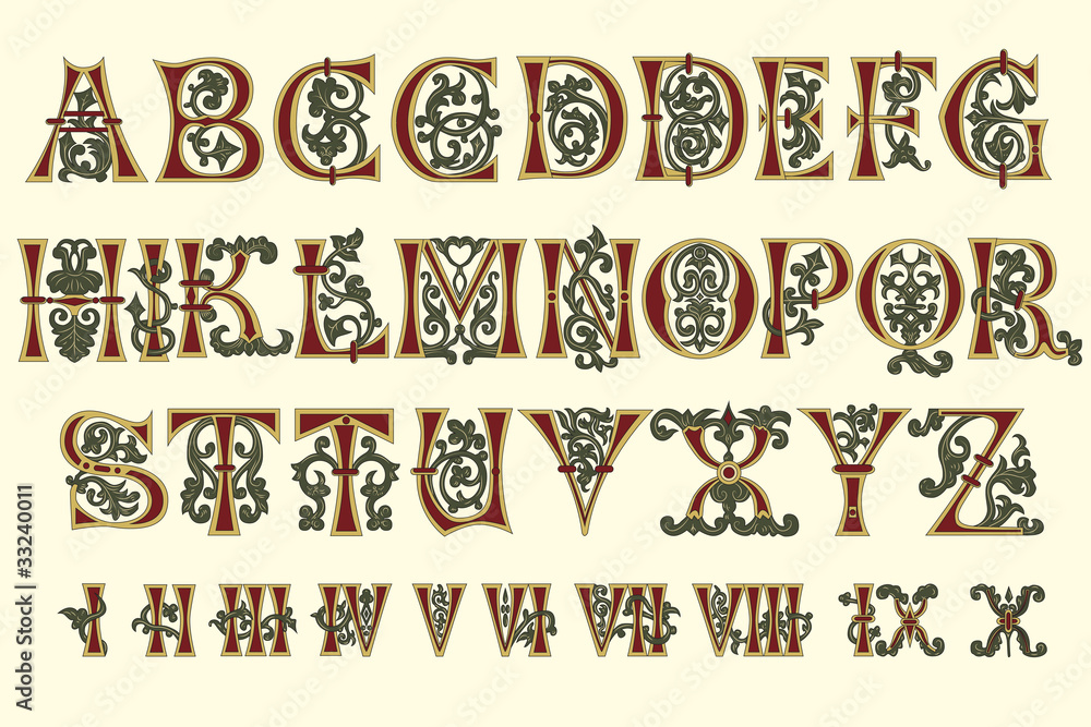 Fototapety, obrazy: Alphabet Medieval and Roman numerals of the eleventh century