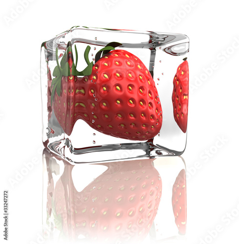 Poster Dans la glace Strawberry frozen in ice cube isolated on white