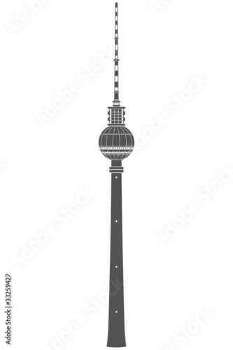 Fotografie, Obraz  detaillierter Fernsehturm Berlin - Kontur schneidbar