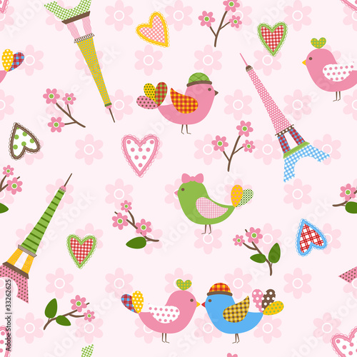 French styled pattern with birds, hearts and Eiffel. Pink.
