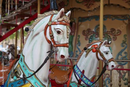 Fotografie, Obraz  Kinderkarussell mit Pferd