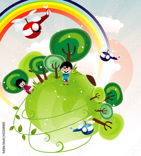 Tuinposter Regenboog fantasy landscape with kids vector