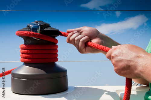 Sailing winch with working hands Canvas