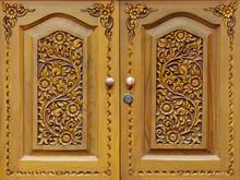 Wooden Carved Doors Closeup