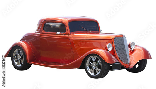 Fotobehang Oude auto s American hot rod isolated on white