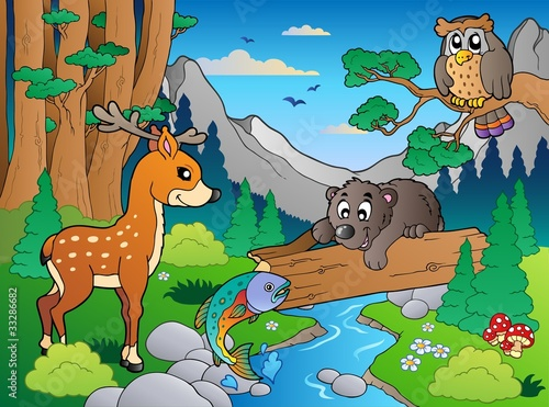 Deurstickers Dinosaurs Forest scene with various animals 1