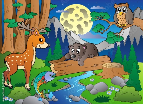 Wall Murals Bears Forest scene with various animals 2