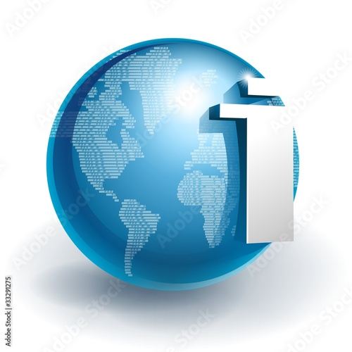 Internet in digital globe icon - Buy this stock illustration