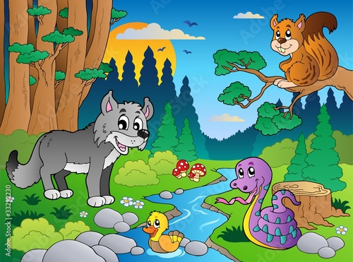 Ingelijste posters Rivier, meer Forest scene with various animals 5