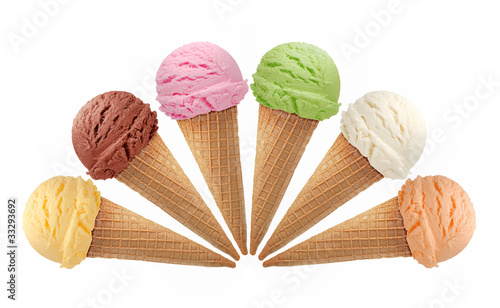 Fotografie, Obraz  Mixed ice cream scoops with cone isolated on white background