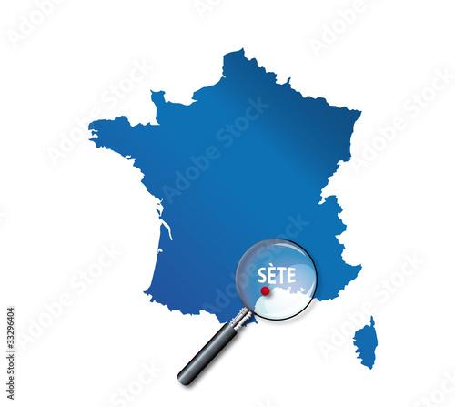 sete carte de france Sète : Carte de France   département de l'Hérault   Buy this stock