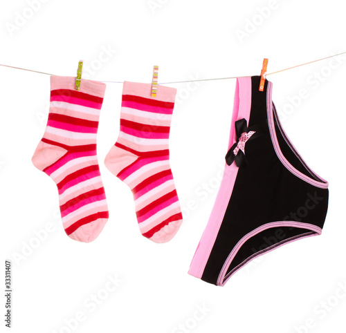 ba44456c82 Woman s panties hanging on white background - Buy this stock photo ...