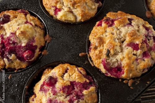 Freshly baked cranberry oat muffins with walnuts Wallpaper Mural