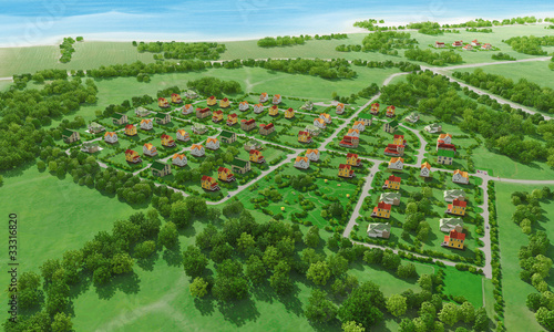In de dag Olijf Small green village from above. 3d rendering.