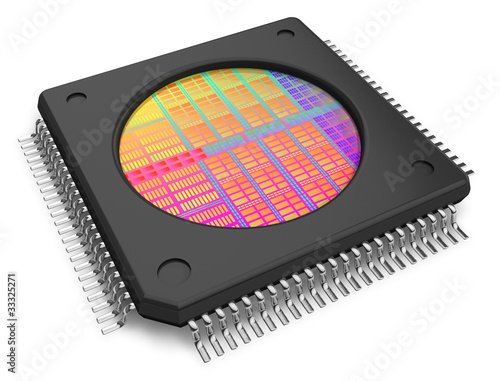 Fotografía  Microchip with visible die
