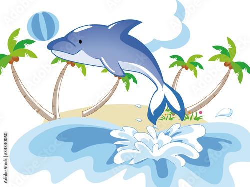 Staande foto Dolfijnen dolphin playing ball