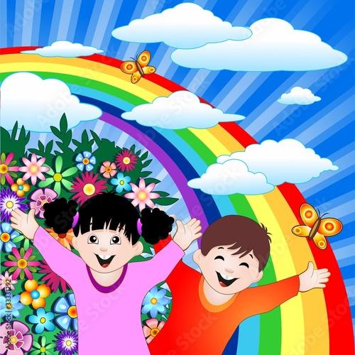 In de dag Regenboog Bambini Felici con Arcobaleno-Happy Children and Rainbow-Vector