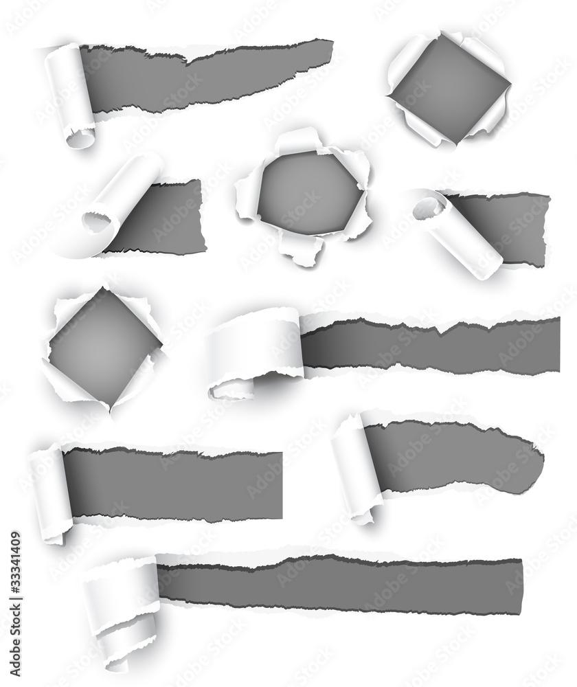 Fototapeta Collection of gray paper. Vector illustration