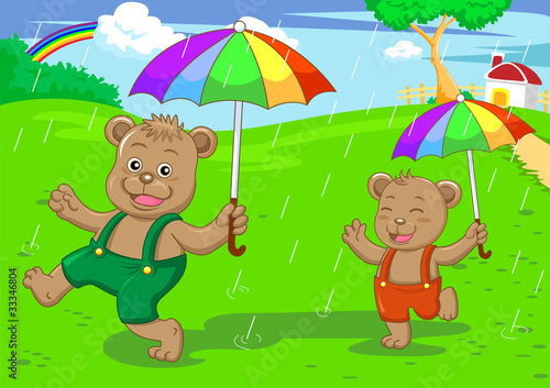 Wall Murals Bears bear brother in raining day