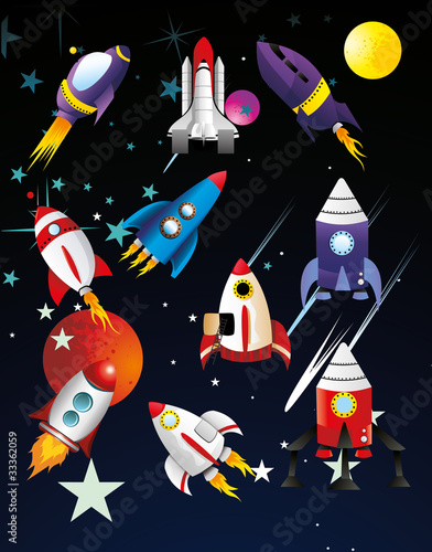 naves espaciales en vector Fototapete
