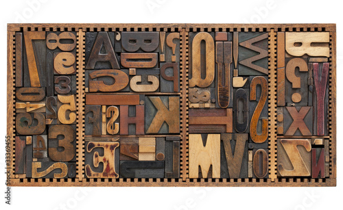 Valokuvatapetti vintage letters, numbers and punctuation signs