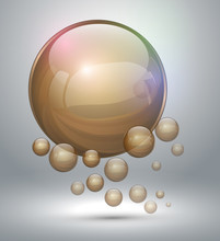 Abstract Background With Gold Bubbles.