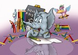 Elephant in School - Cartoon Background Illustration