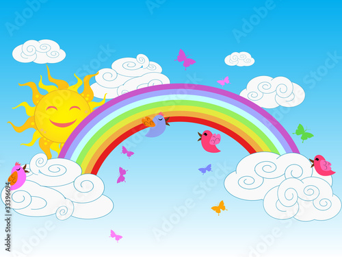 Poster Oiseaux, Abeilles colorful rainbow in sunny day