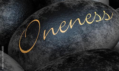 Photo  Schwarze Steine mit Text - Oneness