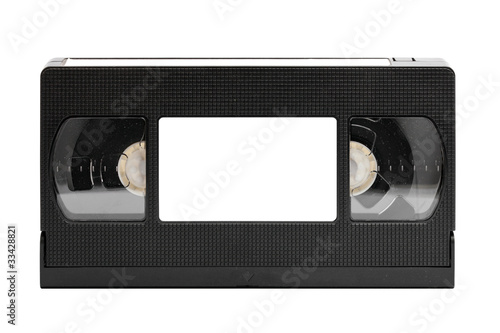 Valokuva  old video tape (cassette), isolated on white (clipping paths)