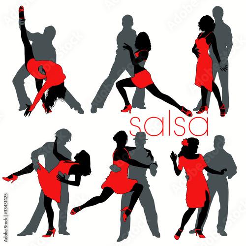 Fotografie, Obraz  Salsa silhouettes set