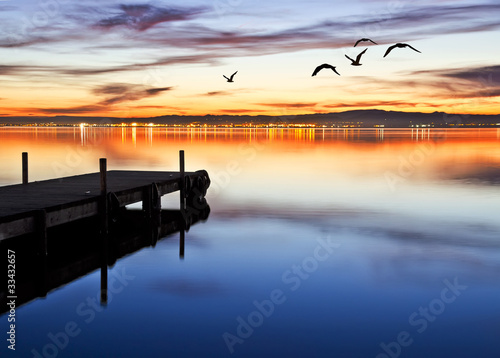 Ingelijste posters Pier denoche en el lago