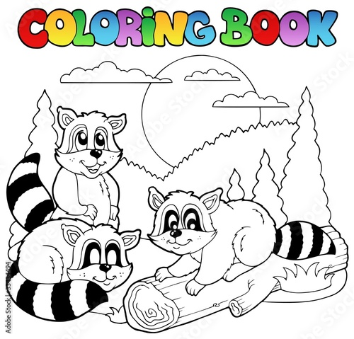 Tuinposter Doe het zelf Coloring book with happy animals 3