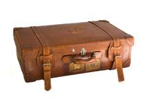 Old Vintage Brown Leather Suitcase
