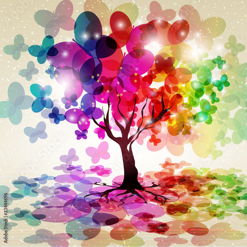 Fototapety, obrazy: Abstract colorful background. Tree.