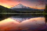 Reflection of Mount Hood on Trillium Lake at Sunset