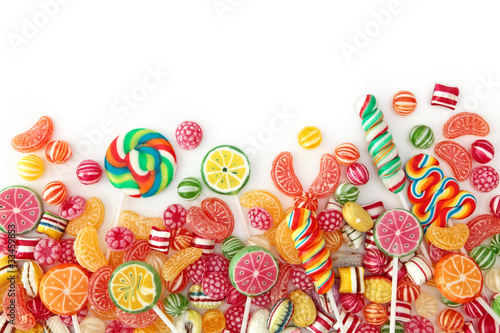 Poster Confiserie Mixed colorful fruit bonbon close up
