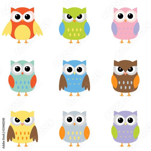 Canvas Prints Owls cartoon Color owls clip art